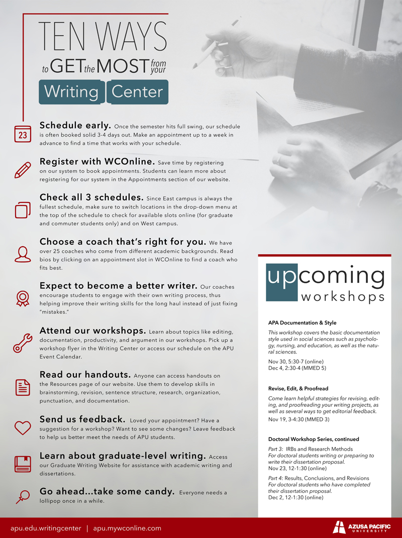 Writing Center Tips Impage