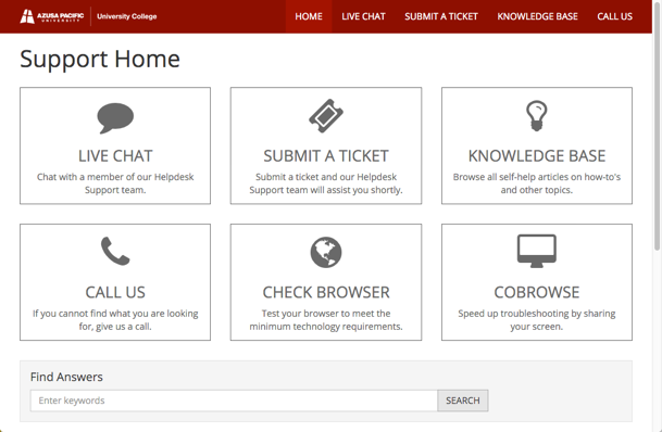 Preview of Technical Support Page