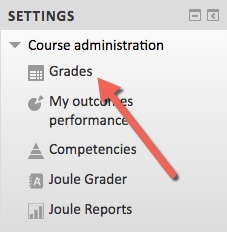 screenshot of the Settings block, highlighting the Grades link which will be moved to the NEW Gradebook block on 6/17/2017
